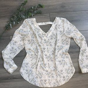 LOFT Outlet Bar Back Long Sleeved Blouse